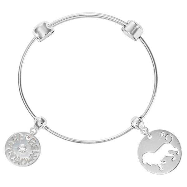 Courage Lion Bangle Silver Plated