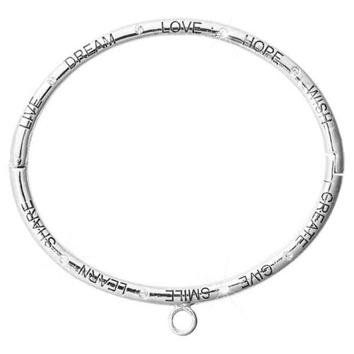 Live Dream Love Hope Wish Bangle Silver Plate