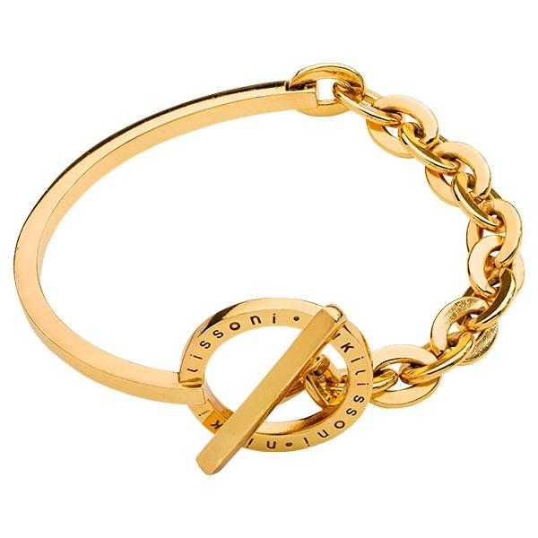 Combined Bangle with Chain Gold Plated