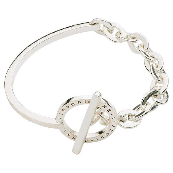 Nikki Lissoni - Combined Bangle W/Chain Silver Plate