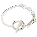 Combined Bangle with Chain Silver Plated