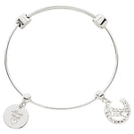 Good Luck Horseshoe Bangle Silver Plated