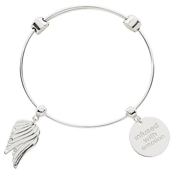 Angel Wings Bangle Silver Plate
