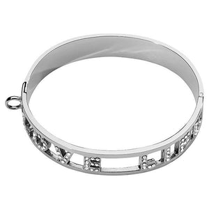 Love Life Swarovski Bangle Silver Plate