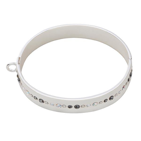 Bangle Grey & White Swarovski Silver Plated