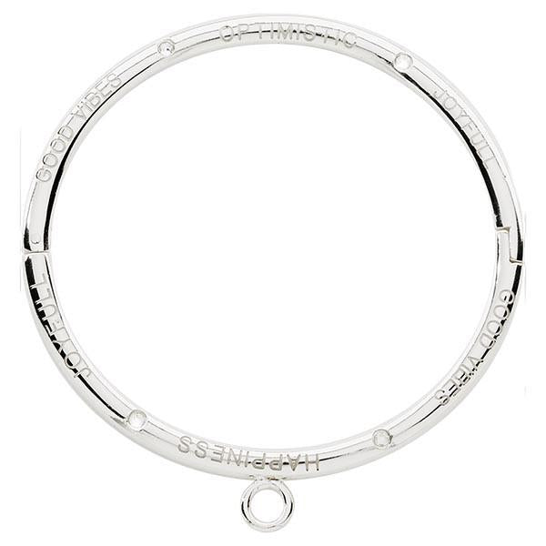 Good Vibes Optimistic Joyfull Swarovski Bangle Silver Plate