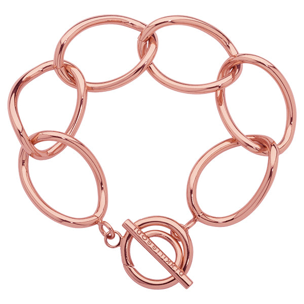 Open Curb Bracelet Rose Gold Plated