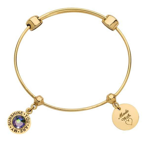 You Are My Sunshine Bangle Gold Plate