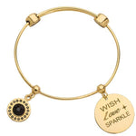 Jet Black & Wish Love Sparkle Bangle Gold Plated