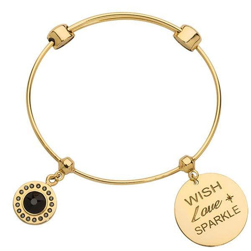 Jet Black & Wish Love Sparkle Bangle Gold Plate