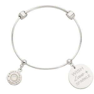 White Opal & Wish Love Sparkle Bangle Silver Plate