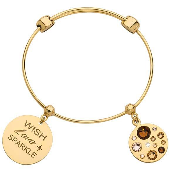 Sparkling Beauty In Bronze Bangle Gold Plate