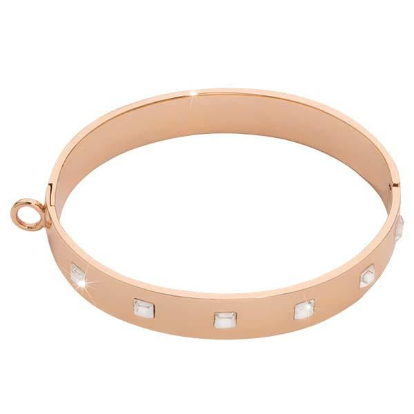 Square Swarovski Bangle Rose Gold Plate