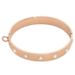 Square Swarovski Bangle Rose Gold Plated