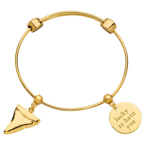 Lucky Shark Tooth Bangle Gold Plate
