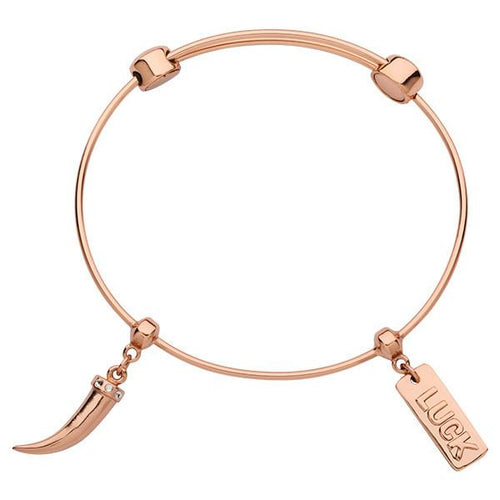 Lucky Tooth Bangle Rose Gold Plate