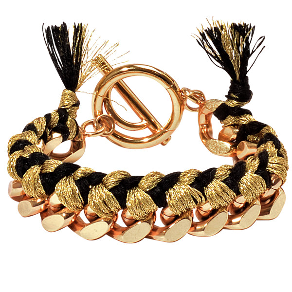 Gold & Black Woven Chain Bracelet Gold Plated 21cm