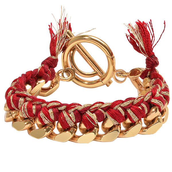 Red Woven Chain Bracelet Gold Plated 21cm