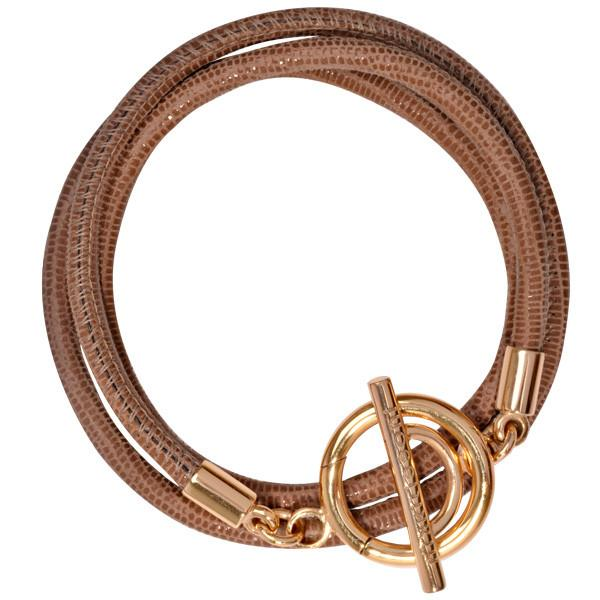 Beige Leather Cord Bracelet Gold Plate T-Bar Closure
