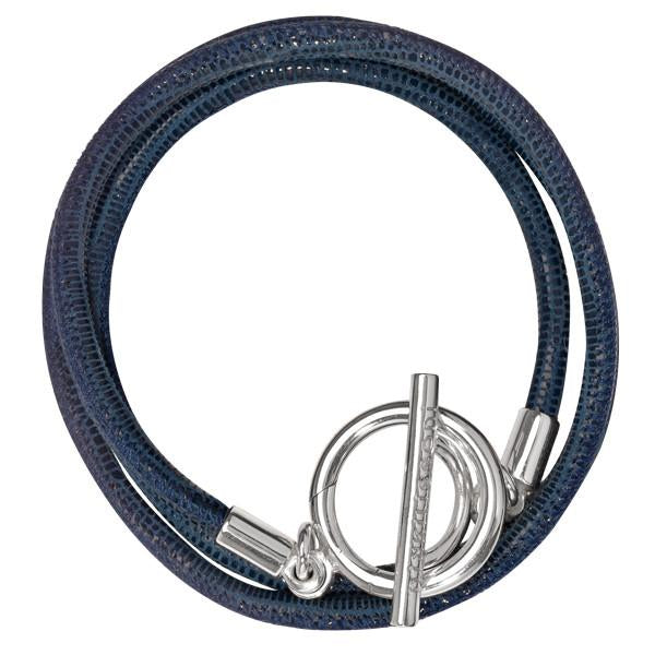 Black Leather Cord Bracelet Silver Plate T-Bar Closure