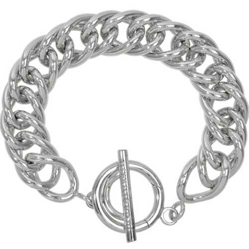 Bracelet Double Curb Silver Plated