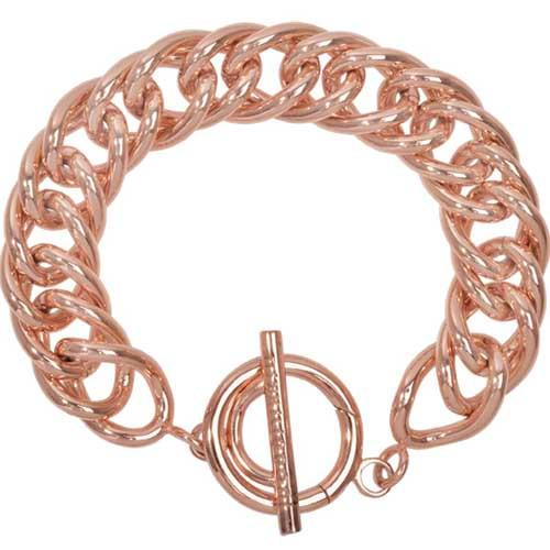 Bracelet Double Curb Rose Gold Plate