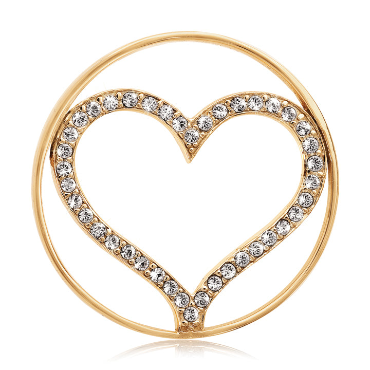 Sparkling Heart Gold Plate 33mm Coin