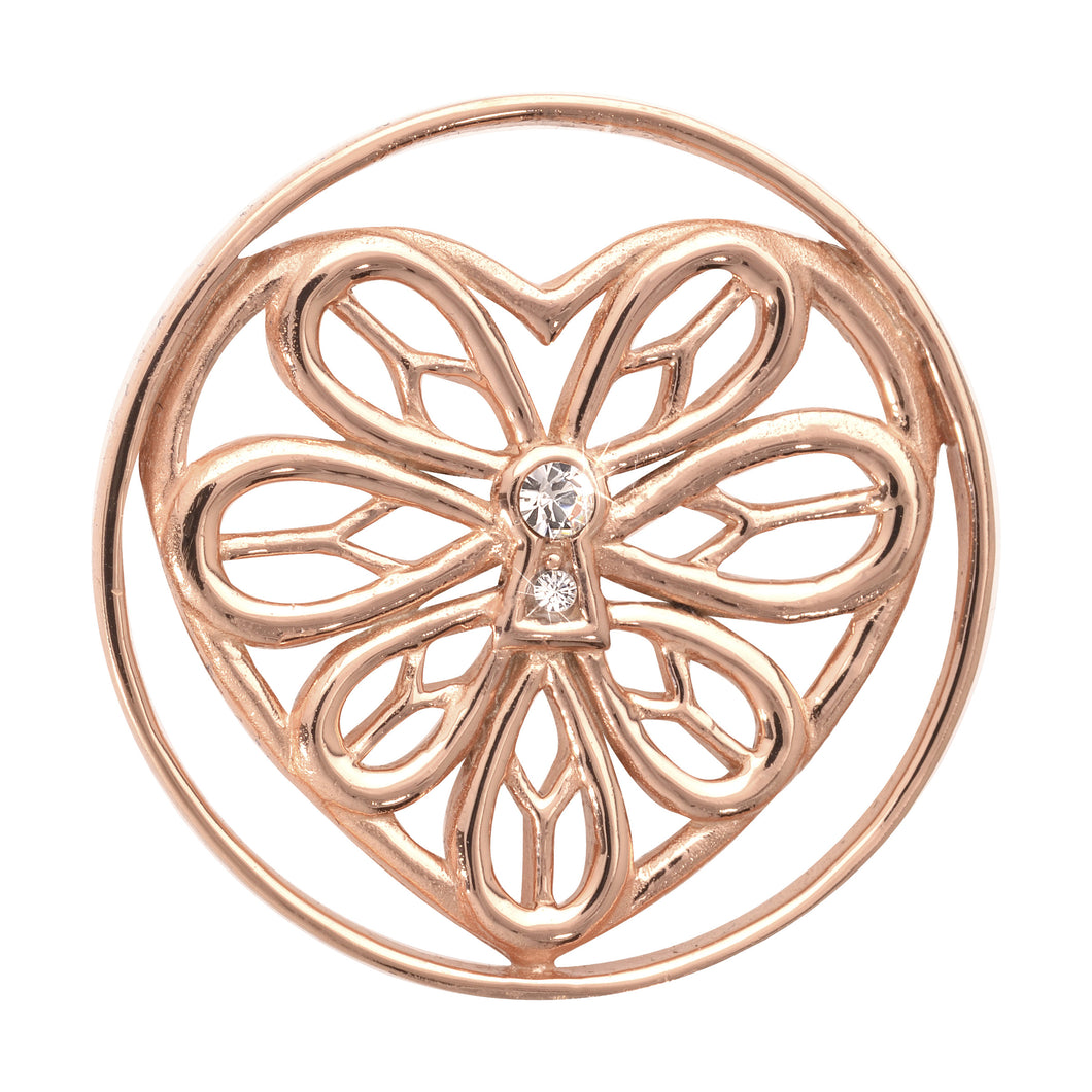 Peaceful Heart Rose Gold Plate 33mm Coin