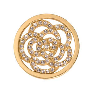 Sparkling Flower Gold Plate 23mm Coin