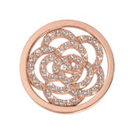 Sparkling Flower Rose Gold Plated 23mm Coin