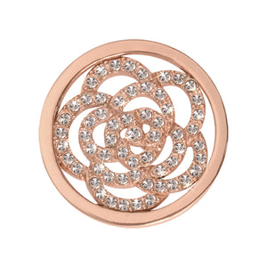 Nikki Lissoni - Sparkling Flower Rose Gold Plate 23mm Coin