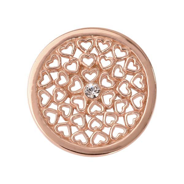 Hearts All Over Rose Gold Plated 23mm Coin