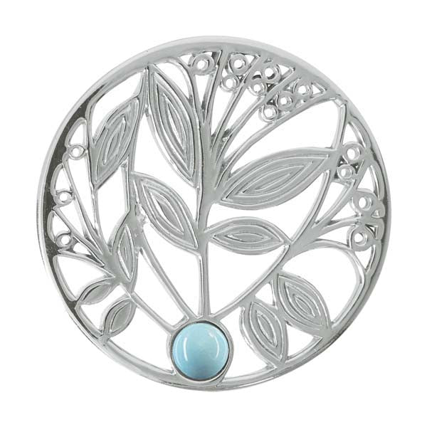 Nikki Lissoni - Blue Turquoise Tree Silver Plate 33mm Coin
