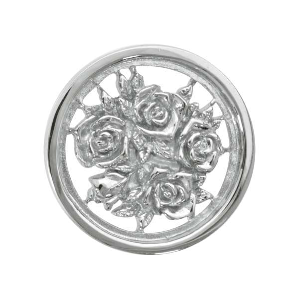 Bouquet With Roses Silver Plated 23mm Coin