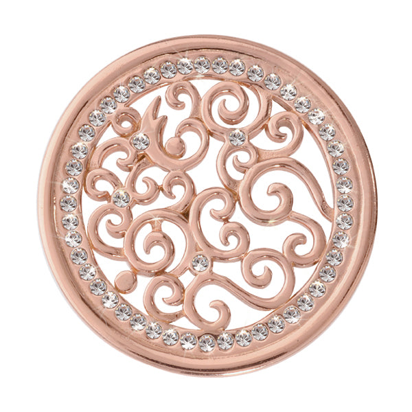 Vintage Curls Rose Gold Plate 33mm Coin