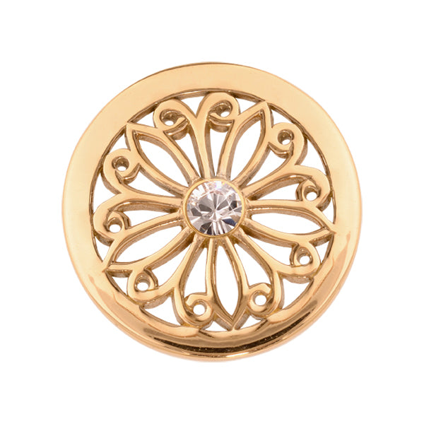 Oriental Flower Gold Plate 23mm Coin