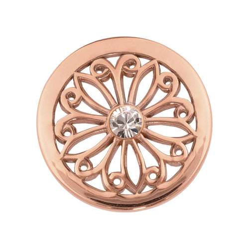 Nikki Lissoni - Oriental Flower Rose Gold Plate 23mm Coin