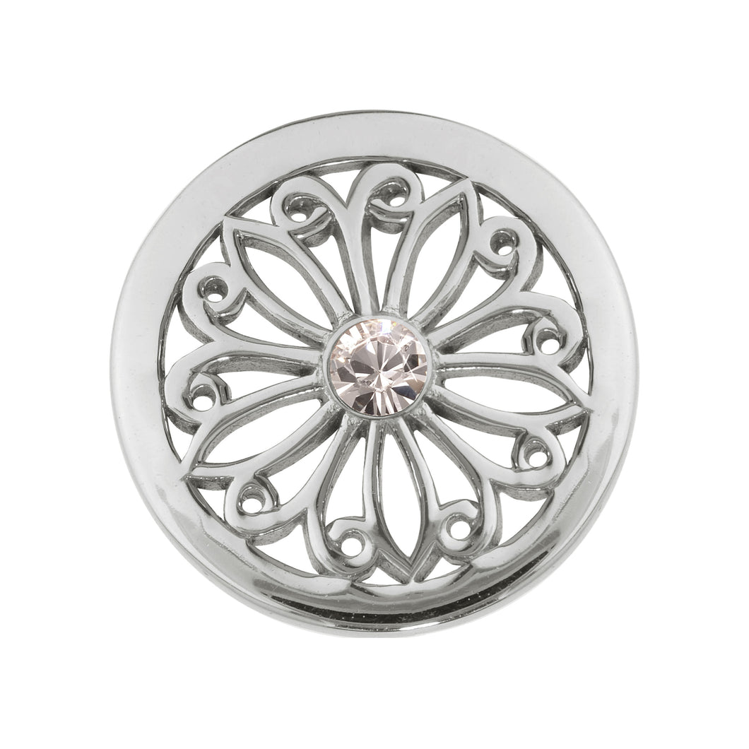 Oriental Flower Silver Plate 23mm Coin