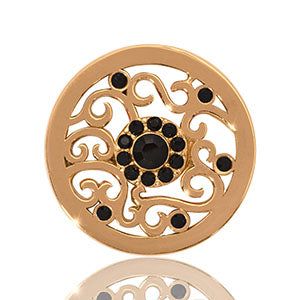 Nikki Lissoni - Ancient Black Flower Gold Plate 23mm Coin