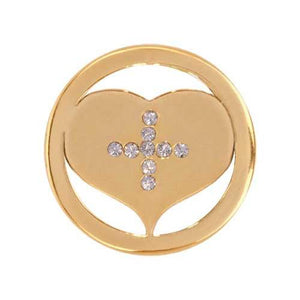 Cross My Heart Gold Plate 23mm Coin