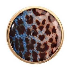 Blue Leopard Print Gold Plate 33mm Coin