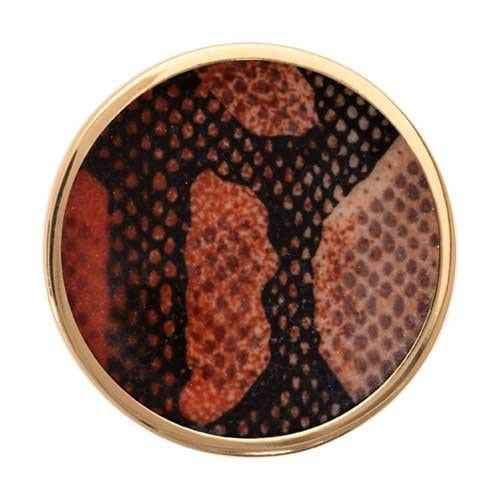 Brown Snake Print Gold Plated 33mm Coin
