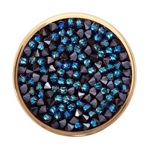 Nikki Lissoni - Blue Rock Crystal Gold Plate 33mm Coin