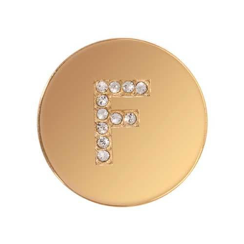 Sparkling F Gold Plated 23mm Coin