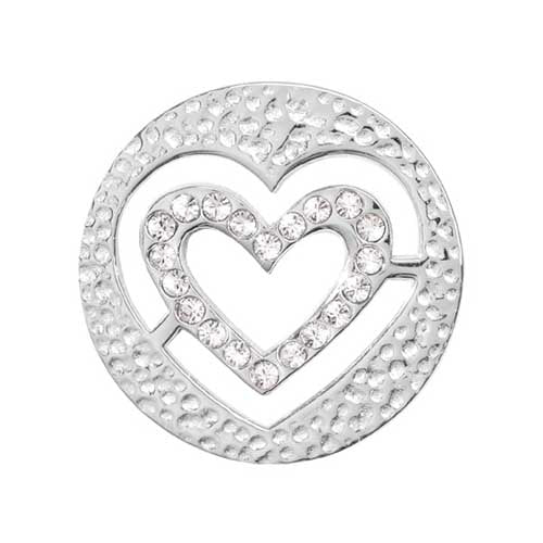 Small Heart Silver Plate 23mm Coin