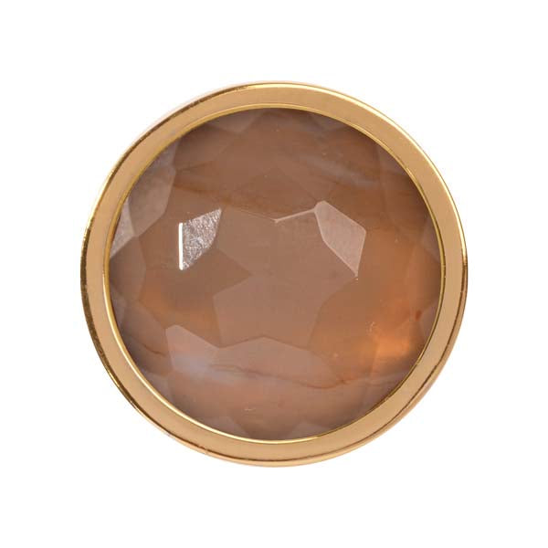 Carnelian Brazil Gold Plate 23mm Coin