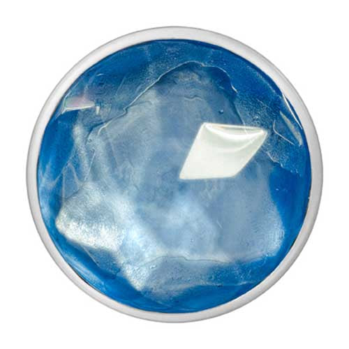 Light Blue Glass Silver Plated 33mm Coin