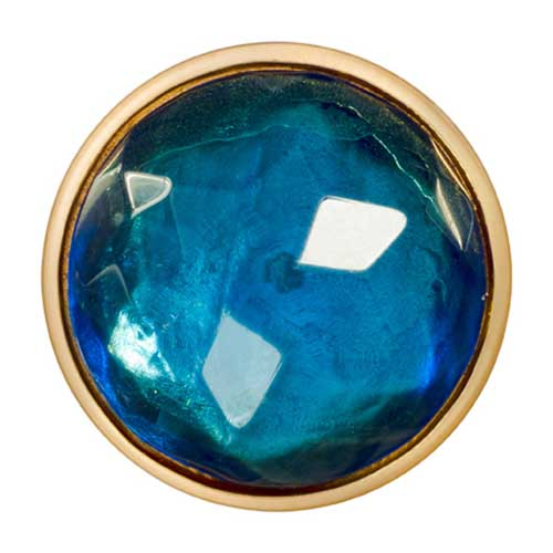 Nikki Lissoni - Sky Blue Glass Gold Plate 33mm Coin