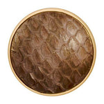 Leather Snake Chocolate Brown Gold Plate 33mm Coin
