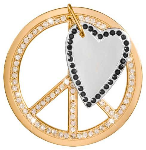 Love & Peace Dangle Gold Plate 43mm Coin